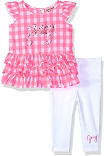 Juicy Couture 橘滋 女幼童 时尚上衣和紧身裤套装 艳粉色/白色 2T