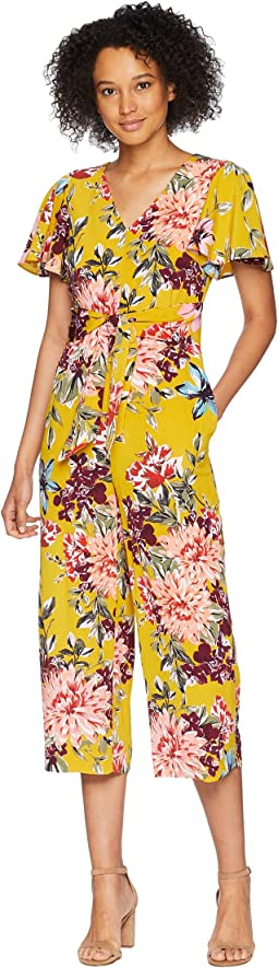 Tahari by ASL Tie Front Floral Cropped Jumpsuit
