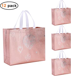 Gesodant Bling Glossy Glitter Durable Reusable Grocery Bag Tote Bag Handles Bag,Medium Non-woven Fashionable Present Bag Gift Bag,Goodies Bag Shopping Bag,Promotional Bag,Totes, Set Of 12, Pink