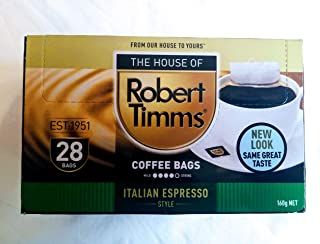 The House of Robert Timms Italian Espresso Coffee Bags 28s, 160 g