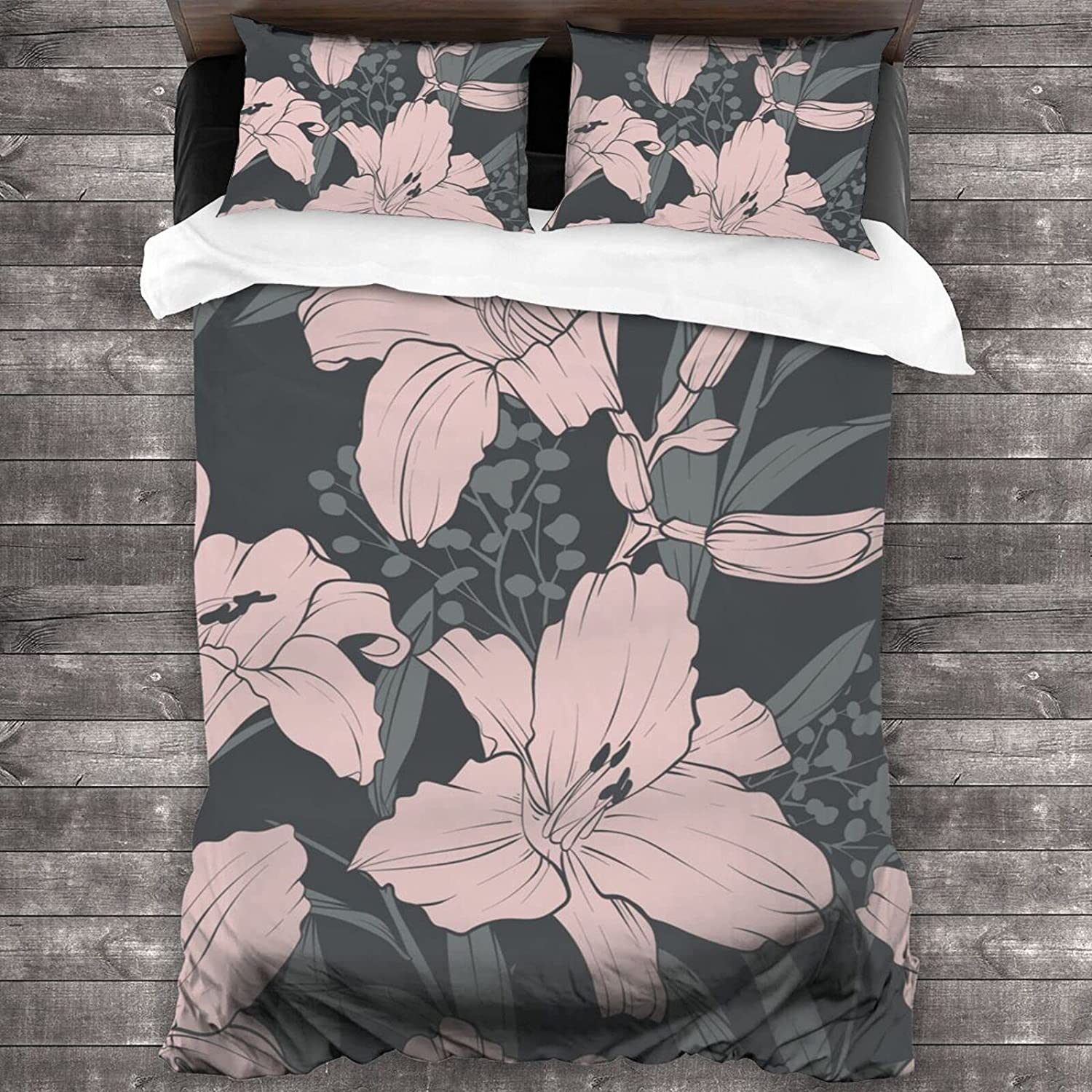 Beautiful Lily Flowers Quilt Set Sets Lightweigh Free Shipping Cheap Bargain Gift Max 48% OFF Bedding 3-Piece