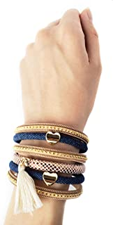 New Women Jewelry Magnetic Clasp Handmade Multi Layer Tassel Leather Denim Bracelet