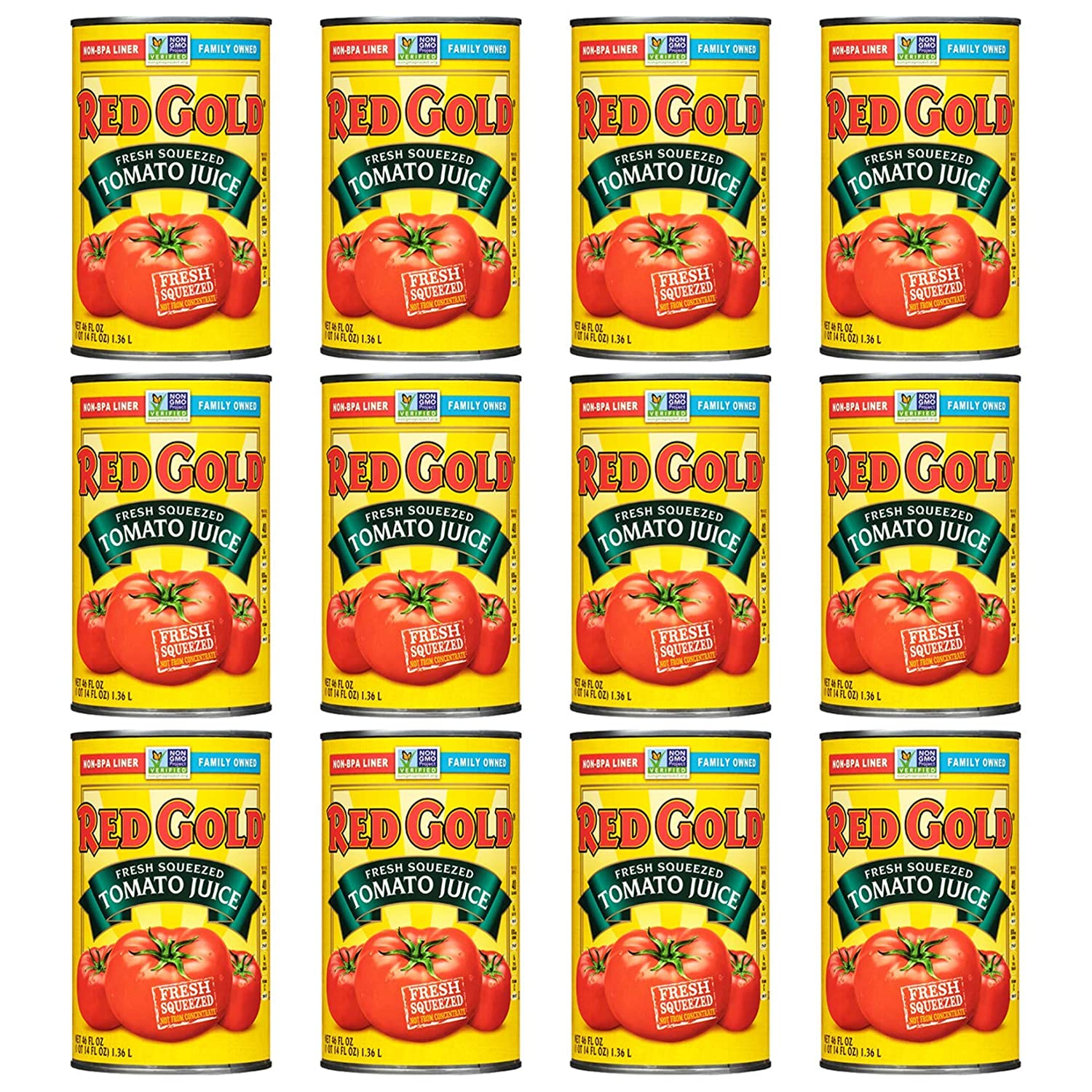 Red Gold Fresh Squeezed Great interest Tomato Juice Max 53% OFF Pack of Can 12 46oz