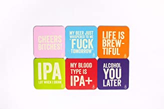 Thirsty Merchants 6 Pack Funny Coaster Set - Absorbent Flexible Anti Slip Rubber Backed Coasters for Beer- Perfect for Parties or Man Caves – Protect Furniture from Beer Spills (6)