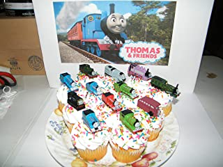 Thomas the Tank Engine Deluxe Cake Toppers Cupcake Decorations Set of 14 with 12 Figures and 2 Train ToyRings featuring Thomas, Rosie, Bus Bertie, James and More!