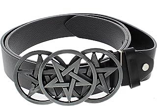 Zac's Alter Ego Black PU Belt with Triple Pentagram Buckle