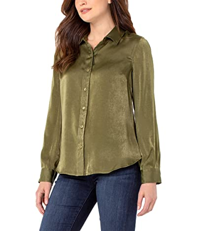 Liverpool Button-Up Sateen Blouse (Olive) Women