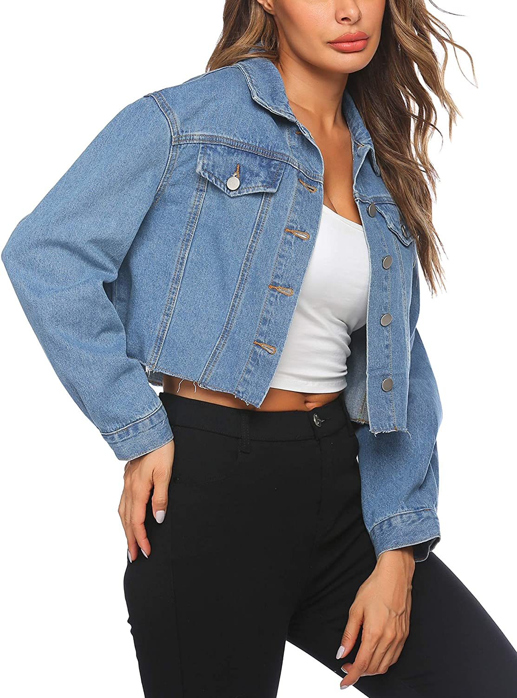 HOTLOOX Women's Denim Jacket Long Sleeve Cropped Oversize Vintage Boyfriend Button Down Loose Jeans Coat S-XXL