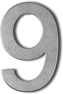 Roestvrij stalen huisnummer om vast te schroeven Zwevend huisnummer huisnummer huisnummer (9, 10cm)