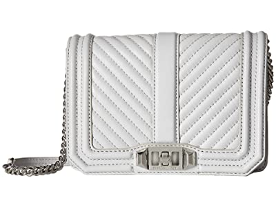 Rebecca Minkoff Chevron Quilted Small Love Crossbody (Ice Grey) Cross Body Handbags