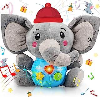 Sakiyrmai Plush Elephant Music Baby Toys 0 3 6 9 12 Months, Cute Stuffed Animal Light Up Baby Toys Newborn Baby Musical To...
