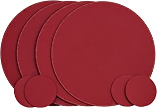 Nikalaz Set of Round 4 Red Placemats and 4 Coasters, Round Table Placemats, Place Mats 12.99 inches, Recycled Leather Placemats for Dining Table