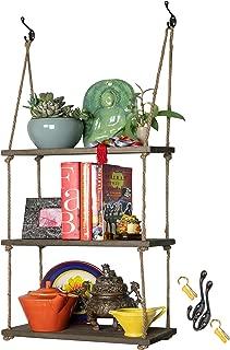 Hanging Wall Shelf - Wood Swing Storage Shelves - Jute Rope Organizer Rack - Rustic Home Decor Bookshelf - Window Plant Shelves - Floating Collectibles Display - Decorative Farmhouse Bookshelves
