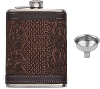 Store2508® Hip Flask with Funnel. Stainless Steel Body with Snake Skin Pattern PU Leather Cladding 8 Oz (236 ml).