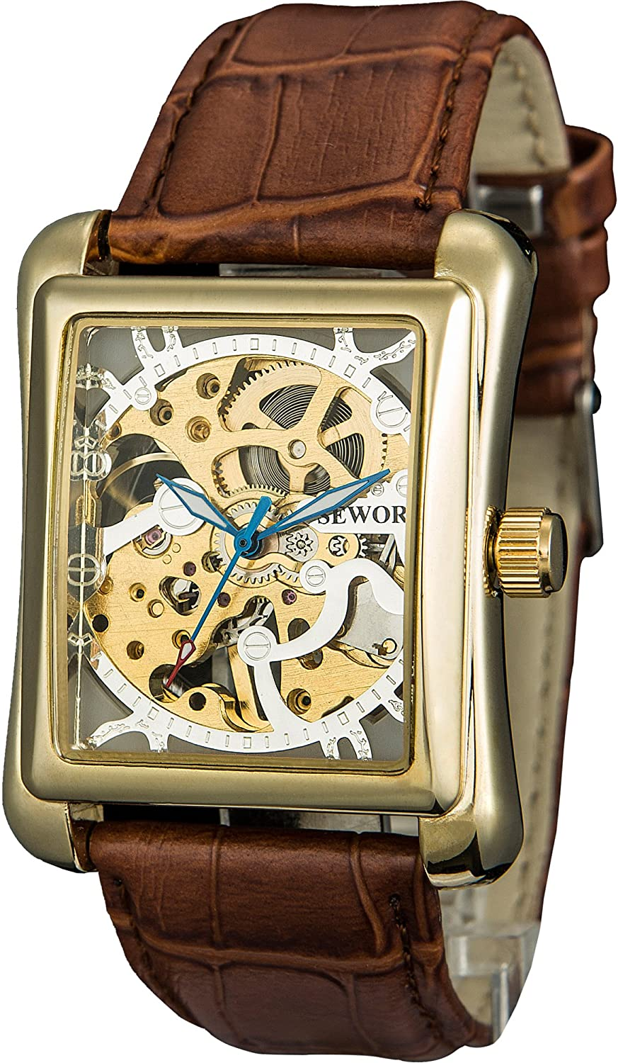SEWOR Men's Dress Mechanical Hand Movement Wind Wri Leather Gold Cheap mail order specialty store Max 45% OFF