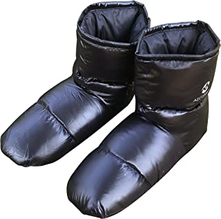 AEGISMAX Down Booties Down Socks Tent Foot Warmers Down Filled Slipper Indoor Warm Down Slippers Plus Size for Men Black