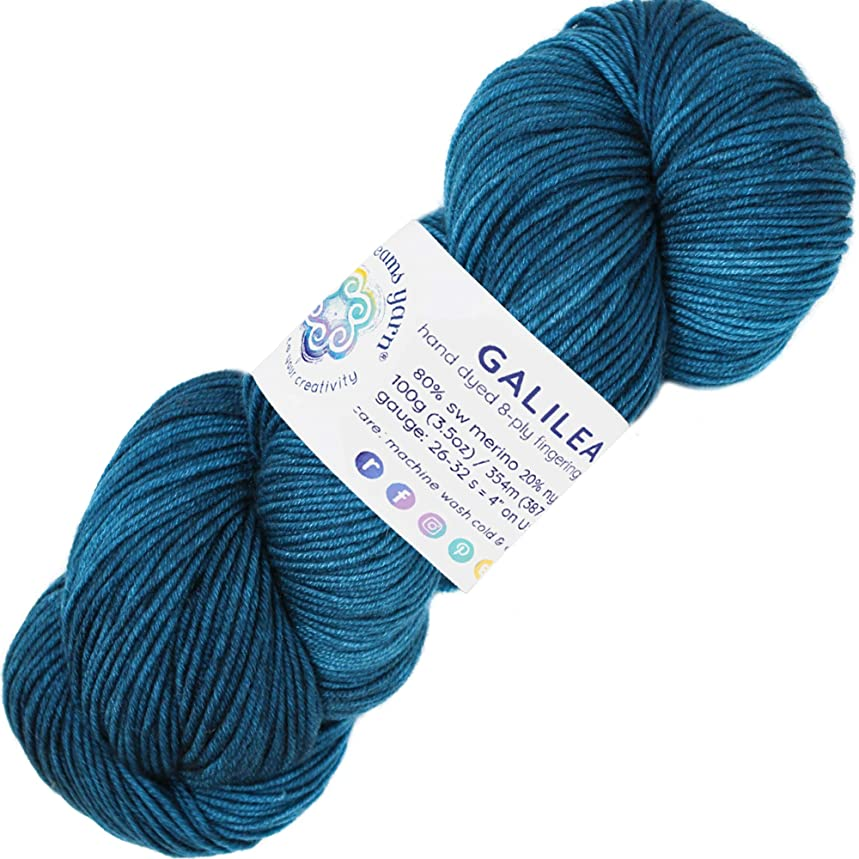 Living Dreams Yarn Galilea. Colorful Superwash Merino Sock Yarn. Super Soft and Strong. Hand Dyed to Perfection: Aquarius