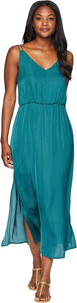 Sleeveless V-Neck Rumple Maxi Dress