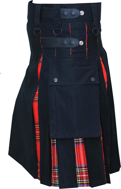 NJS Kilts-Hybrid Black & Royal Stewart Tartan Utility Kilt for Men