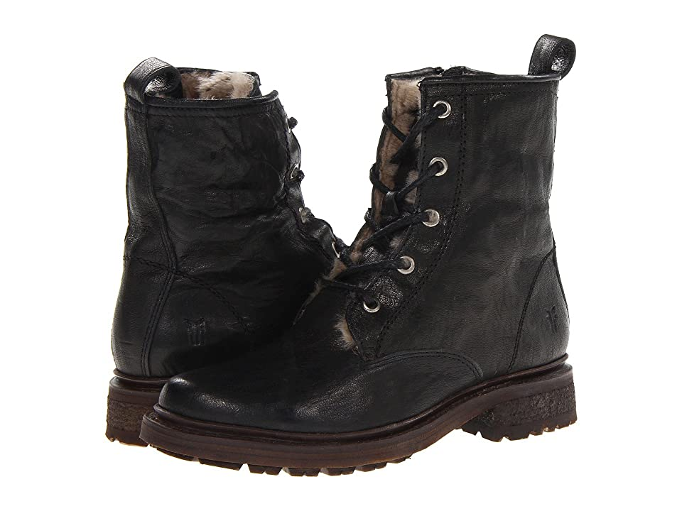 Frye Valerie Lace Up (Black Antique Soft Vintage/Shearling) Cowboy Boots