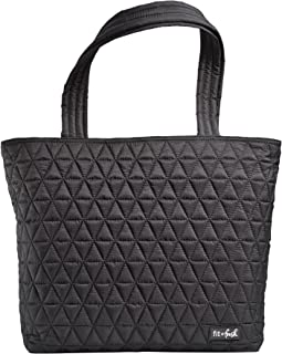 """Fit & Fresh Metro-Tote 2 in 1 Quilted 15"""" Laptop Bag with Insulated Lunch Compartment, Black"""