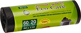 Eco Care Black Garbage Bag Roll - 20 Count, 60 Gallons, 90x110 cm