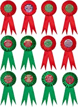jollylife 12PCS Christmas Ugly Sweater Award Ribbons Decorations - Xmas Party Contest Prize Pins Ornaments Decor