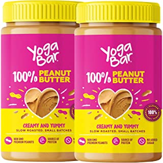 Yogabar 100% Pure Peanut Butter | Creamy & Yummy Unsweetened | Slow Roasted | Non-GMO Premium Peanuts | No Added Sugar | P...