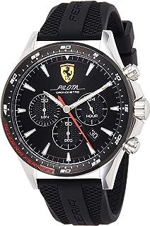 Ferrari Unisex-Adult Quartz Watch, Chronograph Display and Silicone Strap 830620, Black