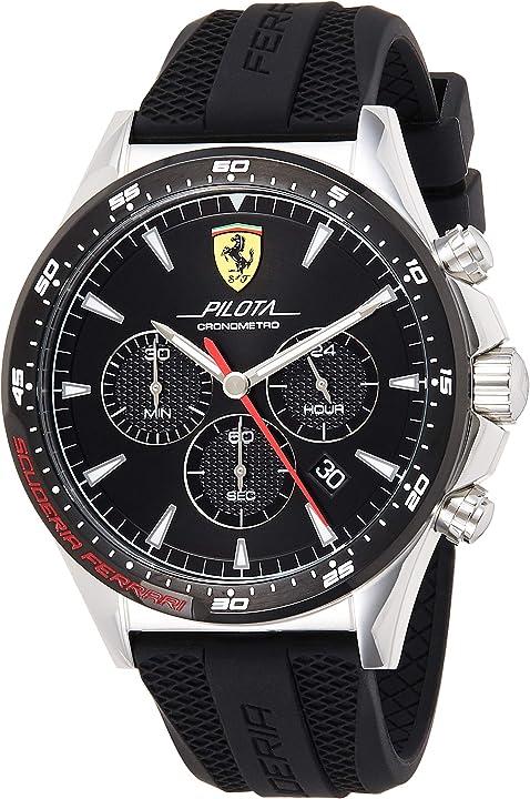 Orologio cronografo - ferrari quarzo uomo con cinturino in silicone 830620 - scuderia ferrari 0830620