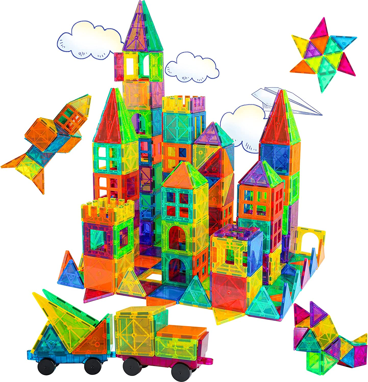 BMAG Magnetic Tiles, 3D Magnet Building Blocks for Kids Toddlers, Stacking...