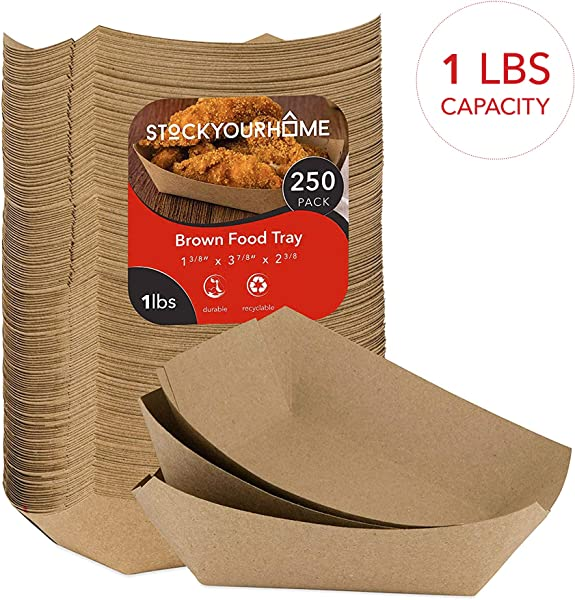 Paper Food Boats 250 Pack Disposable Brown Tray Eco Friendly 1 Lb Brown Paper Food Trays Serving Boats For Nachos Tacos French Fries