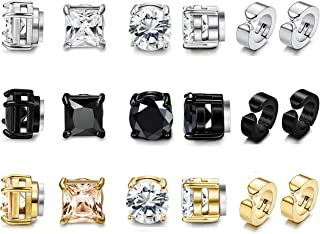 9Pairs Stainless Steel Magnetic Stud Earrings for Women Mens Cubic Zirconia Magnet Earrings Non Pierced Clip On Earrings Set 6mm-8mm