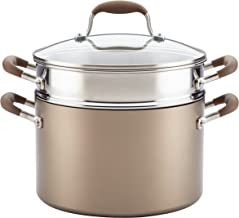 Anolon 84456 Advanced Hard Anodized Nonstick Stock Pasta Pot/Stockpot with Lid, 3 Piece, Umber Brown