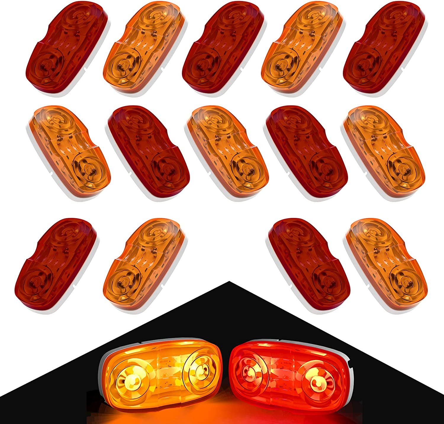 Tinpec 14 x LED Trailer Marker 2021new shipping free shipping Lights Double Bullseye with Max 53% OFF Di 10