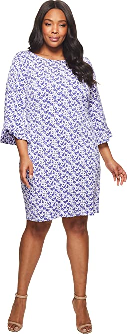 Plus Size Carnation Flare Sleeve Dress