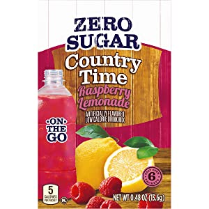 Country Time Sugar-Free Raspberry Lemonade Powdered Drink Mix (72 On-the-Go Packets, 12 Packs of 6)
