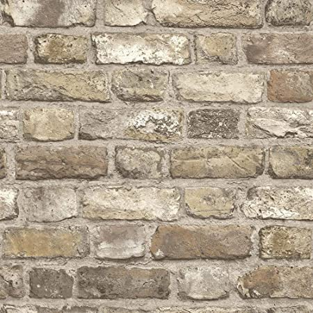 Grandeco Vintage Brick Neutral Wallpaper A28904 - Paste The Wall Faux Stone Wall