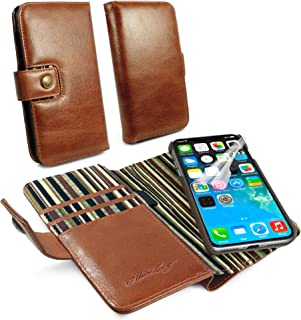 Alston Craig C3_88 Personalised Gentlemen's Traditional Vintage Genuine Leather [with RFID Blocking] Magnetic Shell Folio Wallet Case Cover with Bill Fold for iPhone X/XS - Brown