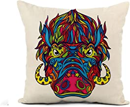 Awowee Flax Throw Pillow Cover Aggressive Face of Warthog in Line Coloring Book Page 16x16 Inches Pillowcase Home Decor Square Cotton Linen Pillow Case Cushion Cover