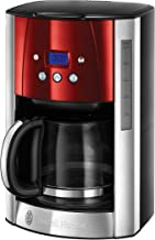 Russell Hobbs 23240-56 Luna Kahve Makinesi, 1,5lt/12 Fincan, Paslanmaz Çelik/Cam, Kırmızı