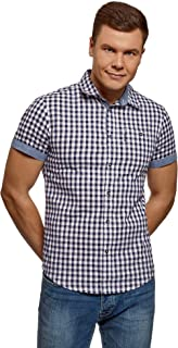 oodji Ultra Hombre Camisa de Algodón de Manga Corta