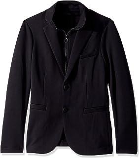 Armani Exchange Men's Solid Double Knit Blazer with Zip Up Scuba Vest