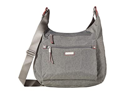 Baggallini New Classic Day Trip Hobo with RFID Phone Wristlet (Pewter/Cheetah Emboss) Hobo Handbags