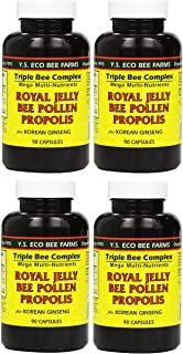 Y.S. Eco Bee Farms, (4 Pack) Royal Jelly, Bee Pollen, Propolis, Plus Korean Ginseng, 90 Capsules