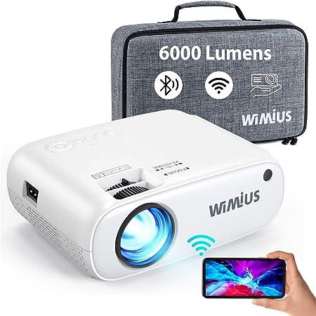 """WiMiUS Proiettore WiFi Bluetooth, Mini Videoproiettore 6000 Lumen Supporto 1080P Full HD, Proiettore Portatile per Telefono Compatibile con HDMI / PS4 / USB / TV Stick, Proiettore 250"""" per Home Cinema"""