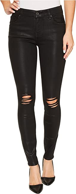 The Ankle Skinny w/ Destroy in Black Coated Fashion 3