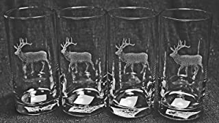 Muddy Creek Reflection Bull Elk Laser Etched Can Glass Set (4, BCG)