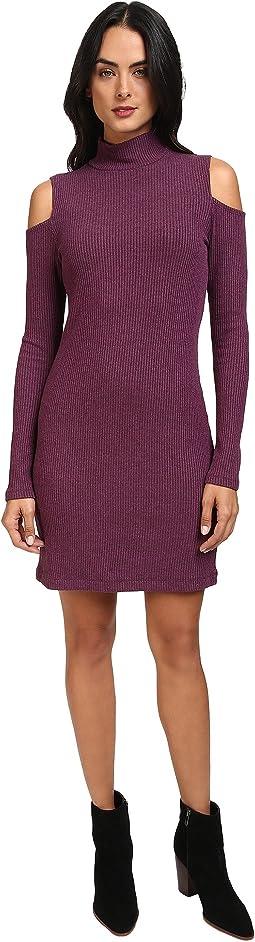 Waffle Knit Cold Shoulder Dress