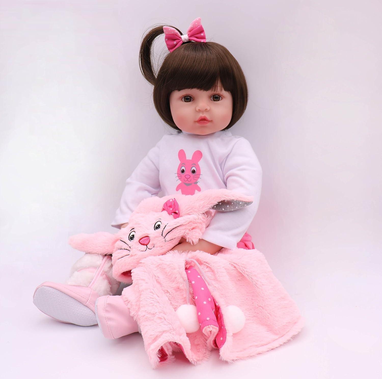 ZIYIUI Doll Newborn Baby Dolls Soft Simulation Silicone Vinyl Lifelike Vivid Bunny Image Pink Clothing Reborn Baby Dolls Girls Xmas Birthday Gift Toy 18 Inch 45 CM